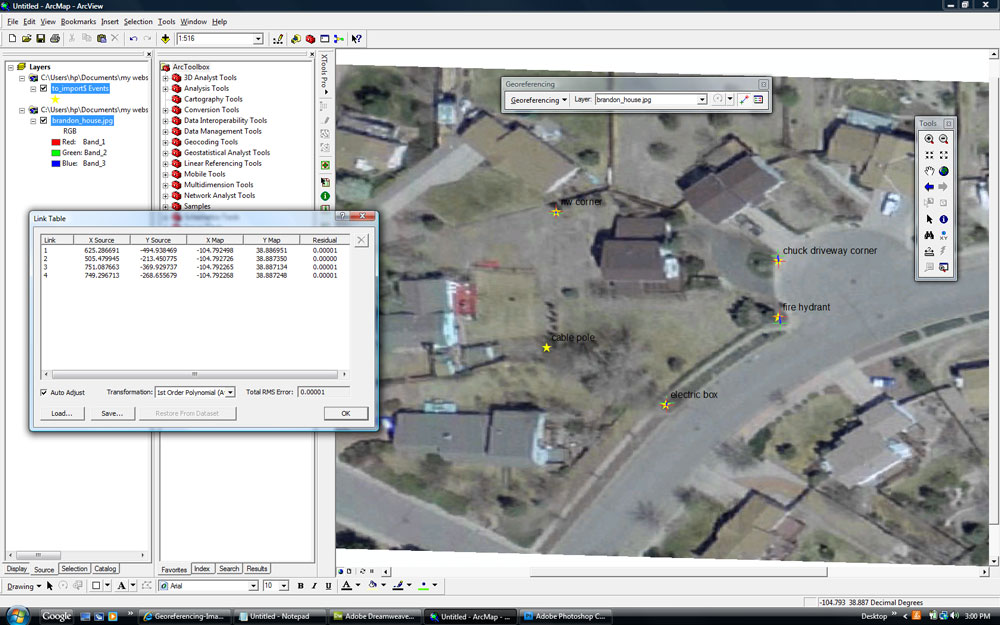 Lab Four: GPS and GIS - Using Control Points Collected in